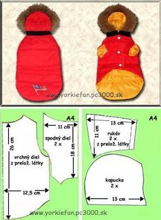 Pet clothes pattern - Cats and Dogs House Small Dog Clothes, Puppy Clothes, Dog Coat Pattern, Dog Clothes Patterns, Coat Patterns, Dog Jacket, Yorkshire Terriers, Dog Items, Dog Wear
