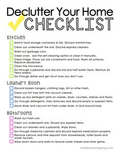 A list that will help you declutter your home and help make sure you don't forget any of the often overlooked areas! Two page printable PDF.