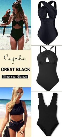 When it comes to Cupshe black magic bikini set, charm is never in short supply. We all agree black color are super elegant and will make you the star of the beach. Solid black in various gorgerous styles. Your will love them~ Shop Now!