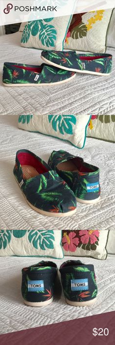 Cute Toms Bird of Paradise canvas slip-ons Sz 8 Toms canvas slip-ons in Navy with a Bird of Paradise design.  Size 8. Worn twice and in great condition. From a smoke free home:) Toms Shoes Flats & Loafers