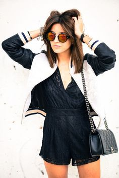 Women's White and Black Bomber Jacket, Black Lace Playsuit, Black Quilted Leather Crossbody Bag