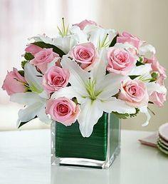 Centro de mesa con rosas y casa blanca PC-003