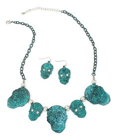 This Patina Sugar Skull Statement Necklace & Drop Earrings by Oori Trading is perfect! #zulilyfinds