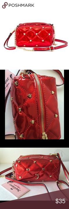 """JUICY COUTURE Quilted Hearts Mini Crossbody Bag NWT Red Poppy Patent quilted hearts mini crossbody bag will define your accessories!  Compact size Gold-tone hardware Black signature crown lining 4.75""""H x 5.25""""W x 2.5""""D Approx. drop down length: 25'' Adjustable crossbody strap zipper closure Interior: zip pocket Faux patent leather Juicy Couture Bags Crossbody Bags"""