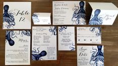 Blue Nautical Octopus Downloadable Wedding Invitations by DColovenotes on Etsy