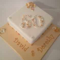 I like the numbers done in little flowers Golden Anniversary Cake, 50th Wedding Anniversary Cakes, Anniversary Ideas, Anniversary Decorations, Diamond Wedding Cakes, Diamond Cake, Cake Wedding, 90th Birthday Cakes, 50th Cake