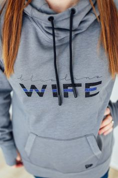 Blue Line Wife Thumbhole Cowl Neck Hoodie Correctional Officer Wife, Police Officer Wife, Cop Wife, Police Officer Crafts, Sheriff Deputy Wife, Police Tees, Police Gifts, Police Girlfriend, Police Wife Life