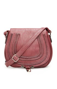 Classic Saddlebag Purse in Wine | DAILYLOOK