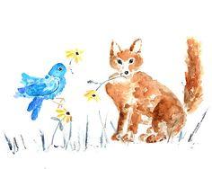 woodland nursery Fox Print gender neutral by LightheartedDreamer