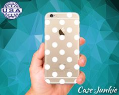 White Polka Dot Pattern Cute Custom Crystal Clear by TheCaseJunkie