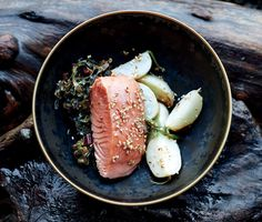 Find the recipe for Slow-Cooked Salmon with Turnips and Swiss Chard and other chard recipes at Epicurious.com