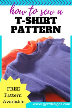 Step by step guide how to sew a t-shirt sewing pattern with knit fabrics. - Fleece Shirt -ideas of Fleece Shirt - Step by step guide how to sew a t-shirt sewing pattern with knit fabrics. T Shirt Sewing Pattern, Sewing Patterns Free, Free Pattern, T Shirt Patterns, Clothes Patterns, Sewing Clothes, Dress Sewing, Pattern Ideas, Sewing Hacks