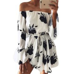 Cheap mini dress, Buy Quality flower print dress directly from China print dress Suppliers: Flower Print Dress Women Slash Neck Off Shoulder Sexy Dresses 2017 Full Flare Sleeve Sashes Beach Mini Dress Woman Casual Robe Girls Playsuit, Floral Playsuit, Boho Floral Dress, Floral Flowers, Floral Dresses, Blue Flowers, Sexy Dresses, Casual Dresses, Short Sleeve Dresses