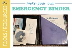 How to Make Your Own Emergency Binder | Food Storage Made Easy -- Tutorial to help you create a binder for all of you important documents to grab and go in an emergency situation.  http://foodstoragemadeeasy.net/2012/11/16/how-to-create-an-emergency-binder/