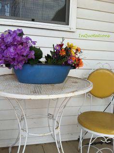 Large Vintage Blue Enamelware Bowl Basin by InQuotations on Etsy, $25.00