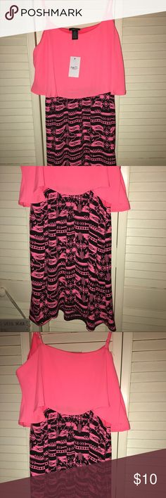 Neon Orange and Black Dress with tribal pattern! Dress photographs as a bright pink but true color is a more neon orange/pink color. Tribal pattern. Size Medium. 100% polyester. Very lightweight. NWT. Rue 21 Dresses Midi