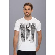 White and Black Print Crew-neck T-shirt by Calvin Klein Jeans. Buy for $29 from Zappos