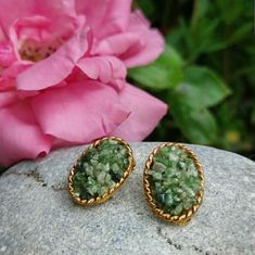 Vintage Goldtone and Jade Earrings from Jem Jewellery. Signed JEM 73