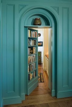 Build a bookcase on door. Make believe you have a secret room in house! Love this color!