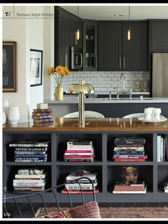 cool idea to use one side storage and other side for bar surface into kitchen...