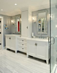 Modern Wall Mirror and White Cabinet Accessories in Small Bathroom Tiles Decorating Design Ideas