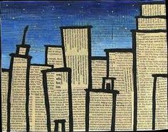 Kunst in der Grundschule: Wolkenkratzer aus Zeitungen Art in elementary school: skyscrapers from newspapers, # elementary school Collage Kunst, Collage Art, Journal D'art, Arte Elemental, Ecole Art, Newspaper Crafts, Newspaper Painting, Recycled Art, Art Classroom