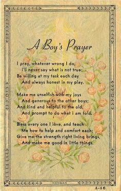 Vintage 1926 Holy Prayer Religious Cards, A Boys Prayer