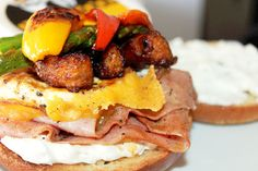 Farmers Sandwich with Chorizo Sausage, Egg, Ham and Jalapeno Cream Cheese