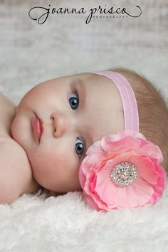 Baby Headbands..Pink Baby Flower by whisperbugboutique on Etsy