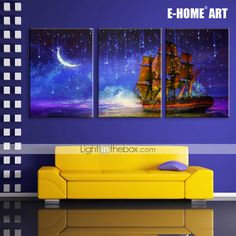 E-HOME® Stretched LED Canvas Print Art The Moon under The Sea Voyage LED Flashing Optical Fiber Print Set of 3 2015 – $126.48
