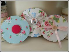 Shabby chic ribbon spools.  How cute are these?