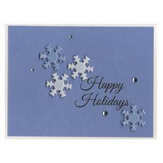 Happy Holidays card with snowflakes