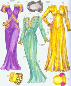 Slinky streamlined gowns with big shoulders. Page 4 of 8 Page book. By David Wolfe, Paperdollywood.