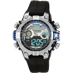 Armitron Men's Round Metalized Blue Accent Digital Sport Watch - Walmart.com