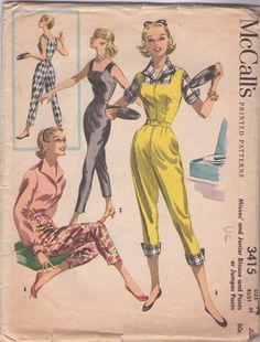Vintage 1950sSquare Neck Capri Pants Jumpsuit, Romper, Pants & Wing Collar Blouse Sewing Pattern (I want a pair like the yellow ones soooo much!). #vintage #1950s #sewing_patterns