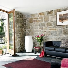 exposed wall gives great earthy feel