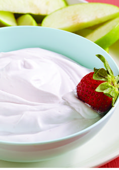 Cool Raspberry Fruit Dip – Fresh fruit tastes even better when it's dipped into this easy, refreshing blend of raspberry nonfat yogurt and sugar free COOL-WHIP topping. Try it out as a sweet snack or easy dessert idea!