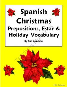 Spanish Christmas, Estar and Prepositions Worksheet - Navidad from Sue Summers on TeachersNotebook.com (2 pages)  - Includes 10 English to Spanish translations and 11 clip art images for students to identify.