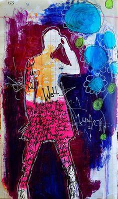 Dina Wakley silhouette mixed media art