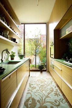 Asian Kitchen with Flush, flush light, limestone floors, Carpet floor runner, Open kitchen shelving, Floating shelves