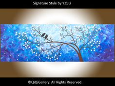 Blue Abstract Painting Landscape Painting Impasto por QiQiGallery, $185.00