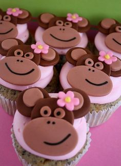 Baby shower yes please Girly Girl Monkey Cupcakes Monkey Cupcakes, Animal Cupcakes, Love Cupcakes, Cupcake Cookies, Beautiful Cakes, Amazing Cakes, Monkey Girl, Mod Monkey, Monkey Birthday Parties