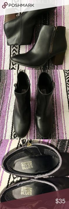 BRAND NEW Canyon River Blues black booties BRAND NEW NEVER WORN Black booties with memo-tech memory foam technology, super soft cute and comfortable, basic so matched anything, great for fall/winter, perfect for skinny jeans. Canyon River Blues Shoes Ankle Boots & Booties