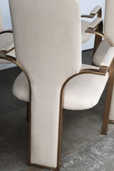 Sculptural Milo Baughman Style, Set of Four Brass High Back 1970s Dining Chairs…