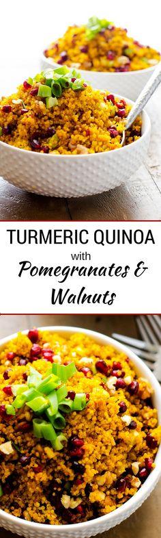 Turmeric Quinoa with Pomegranates and Walnuts