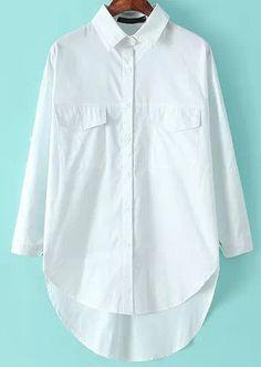 White Lapel Long Sleeve Pockets Dipped Hem Blouse 17.50