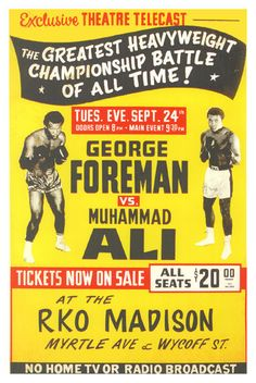 "Muhammad Ali vs George Foreman Boxing Poster 1971 • $9.95 - 100% Mint unused condition • Well discounted price + we combine shipping • Click on image for awesome view • Poster is 12"" x 18"" • Semi-Gloss Finish • Great Boxing Collectible - superb copy of original • Usually ships within 72 hours or less with > tracking. • Satisfaction guaranteed or your money back. Sportsworldwest.com"