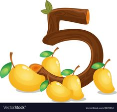 Five mangoes vector image on VectorStock Preschool Worksheets, Teaching Math, Preschool Activities, Teaching Tools, Cute Alphabet, Alphabet And Numbers, Mango Vector, English Classroom Decor, College Crafts