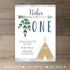 Tribal Birthday Party Invitations • invites • arrows • feathers • tribal • native • teepee • Aztec • first birthday • DIY Printable • by greylein
