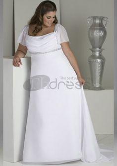 Wholesale - Elegant Bateau Neckline Short Sleeves Floor Lenght Long White Beaded Chiffon Plus Size Wedding Dresses Gown 2014